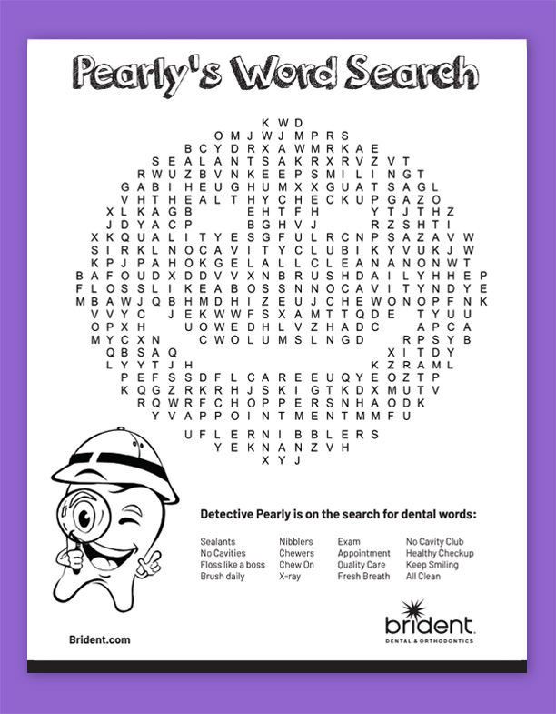 Brident Dental Kid's Activity Sheet - Pearly's Word Search Fall 2019