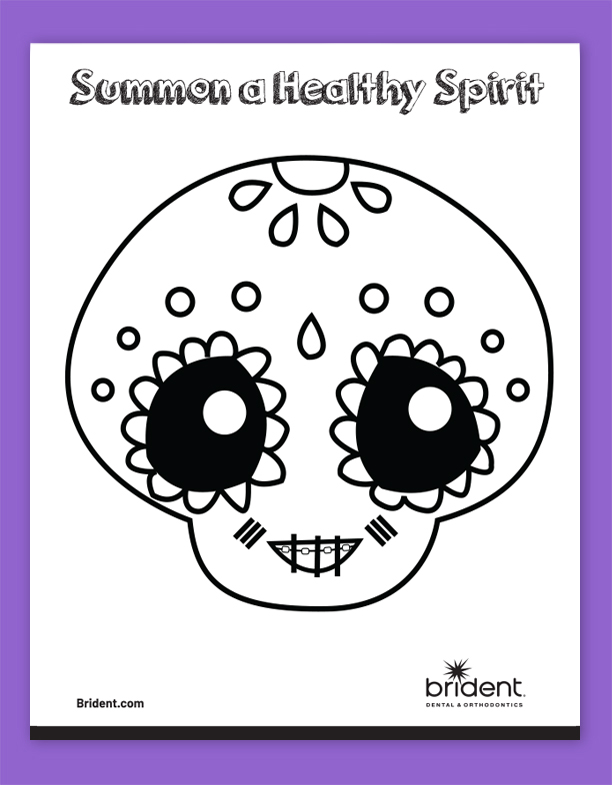 Brident Dental Kid's Coloring Sheet - CandySkull 2 Fall 2019