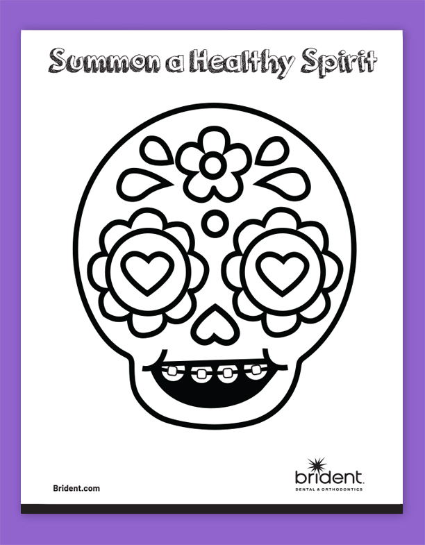 Brident Dental Kid's Coloring Sheet - CandySkull 1 Fall 2019
